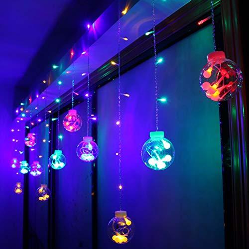 XY-M Cortina Led Exterior,Bola De Deseos De 8 Cm De Diámetro,12 Bolas De Deseos De Estrellas (Incluidas 5 Luces),Luces De Cadena para Interiores/Exteriores,Luces De Navidad para Jardín
