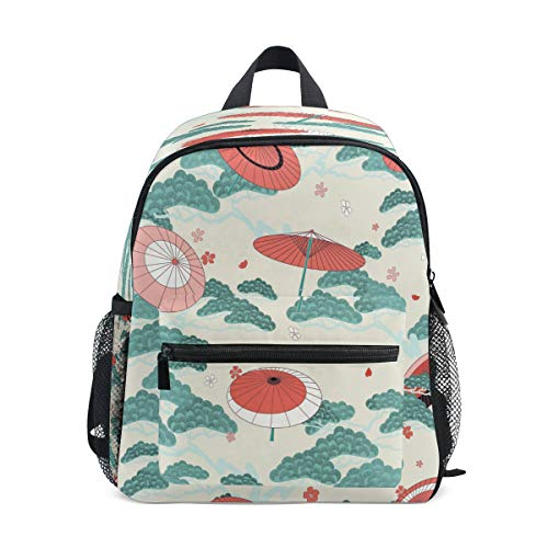 RXYY Kids Backpacks Japanese Umbrella Print Shoulder Travel Toddler Preschool School Bag Casual Backpack with Chest Strap for Girls Boys