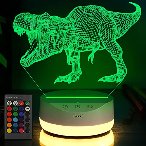 3D Dinosaur Night Light for Kids with Timer, Touch, Remote Control - 16 Color Change Decor Lamp and...