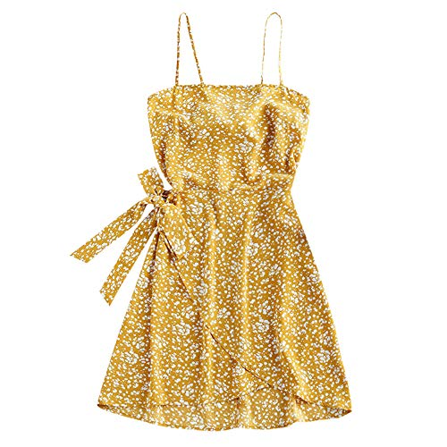 ZAFUL Women's Mini Dress Spaghetti Straps Sleeveless Boho Beach Dress (S, Ditsy Floral-Yellow)