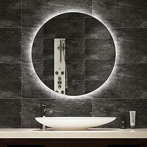 L&ED Espejo Retroiluminado Redondo Grande, Espejo De Baño LED Iluminado con Luz,...