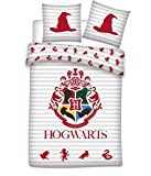 Juego de funda nórdica reversible Harry Potter Hogwarts 155 x 200 cm + funda de almohada 50 x 80 cm 100% algodón…