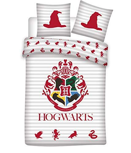 Setino - Juego de cama de Harry Potter Hogwarts reversible, 100% algodón, funda nórdica de 135 x 200 cm y funda de almohada de 80 x 80 cm
