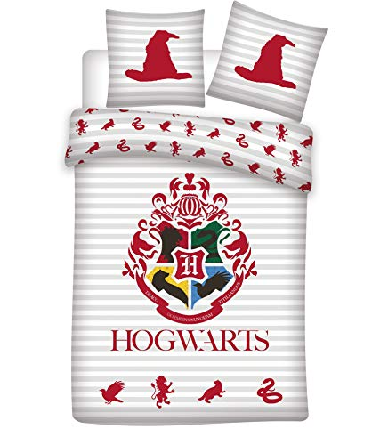 SETINO Harry Potter Hogwarts Bettwäsche-Set, Bettbezug 135 x 200cm, Kopfkissenbezug 80 x 80cm Baumwolle
