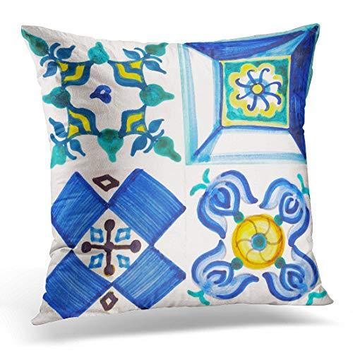 N / A Funda de Almohada Portuguesa Detalle de los Azulejos Tradicionales de la fachada Old House Valenciana Floral Oriental Funda de Almohada Decorativa Decoración para el hogar Funda de Almohada