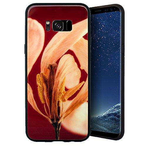 Galaxy S8 Plus Slim Case with Floral Art Design Black Shockproof TPU Bumper