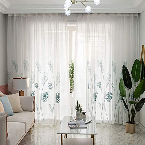 Liuzhou 1 Stück Voile Vorhänge Transparente Gardinen Schal mit Stickerei Dekoschal Gardinenschals Fensterschal für Wohnzimmer Schlafzimmer Blau S 100 * 250cm