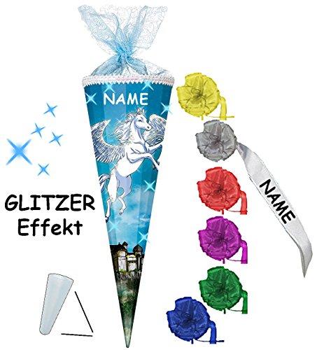 alles-meine.de GmbH 3-D Glitzer Effekt _ ! - Schultüte -  Einhorn - Pferd / Pegasus  - 85 cm / 12 eckig - incl. Namen und individueller Schleife - Organza Abschluß - Zuckertüte..