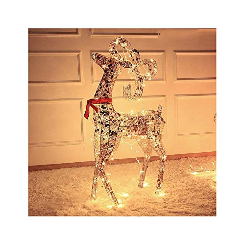 Christmas Reindeer 47' Lighted Holiday Deer Family Outdoor Christmas Lawn Decoration and Sleigh Set 43' Indoor Outdoor Yard Art
