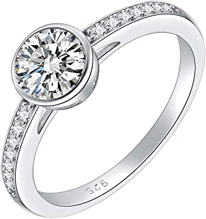 Lavencious 925 Sterling Silver with AAA CZ Stones Rhodium Plated Engagement Rings for Women Size 6-9