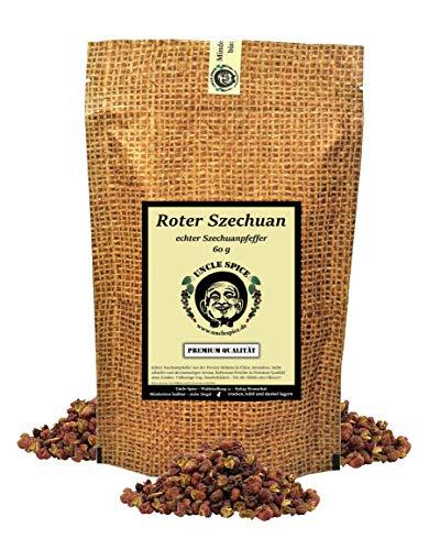 Uncle Spice roter Szechuan Pfeffer, 60g echter Szechuanpfeffer rotbraun - Premiumqualität - aus der Provinz SICHUAN, ganze Pfefferbeeren, echte Wildsammlung, fruchtig-zitronig