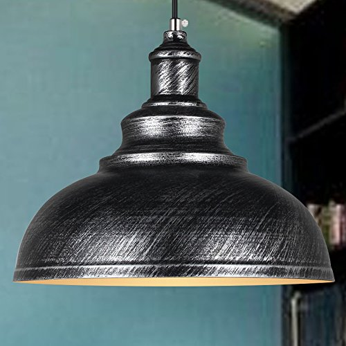 Suspension Luminaire Industrielle Vintage Plafonnier en Métal Lustre Abat-jour Ø29cm E27 éclairage Lampe de plafond, Gris