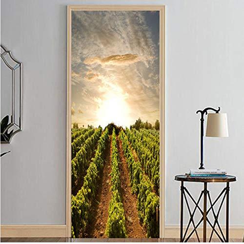 LUCKYYL Türaufkleber Sonnenaufgang Und Traubenfeld Tapete Wandbild Wandtattoo Wandtattoo 3D Fototapete Selbstklebende Türverpackung 77 × 200 cm