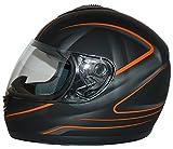 protectWEAR Motorradhelm, Integralhelm, Matt Schwarz/Oranges Muster, S