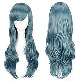 ColorfulPanda 70cm/ 28 pulgadas encantador peluca de pelo completo azul largo rizado anime Cosplay Halloween anime traje...