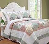 Cozy Line Home Fashions Floral Real Patchwork Tiffany Green Peach Scalloped Edge Country 100% Cotton Quilt Bedding Set, Reversible Coverlet Bedspread for Women (Celia, King - 3 Piece)
