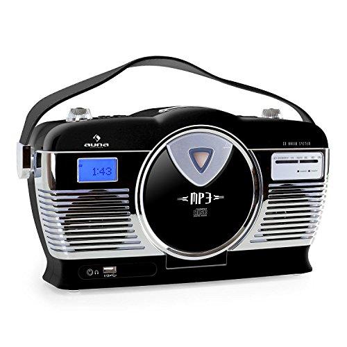 Auna RCD-70 - Sistema de Audio esteréo Retro (Radio FM, USB, Reproductor CD, Posibilidad Funcionamiento a Pilas, MP3, portátil) - Negro