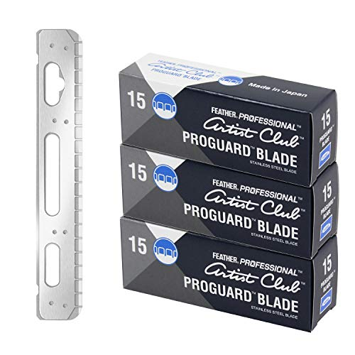 Feather Artist Club ProGuard Razor Blades - (3 Pack of 15) - Single Straight Edge Razor Blades with Guard Refills for Shaving - For Men & Barbers