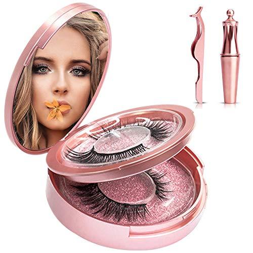 Pestañas Postizas Magneticas y Delineador de Ojos Magnético, 3D Pestañas Imanes Naturales Largo Denso, Pinzas Magnetico Kit Maquillaje Extension, Líquido No Se Requiere Pegamento, 2 pares