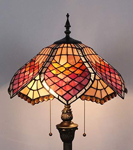 HDO 16-Zoll-Gitter-Buntglas-Wohnzimmer-Studie-kreative Retro- Schlafzimmer-Nachttisch-warme Stehlampe