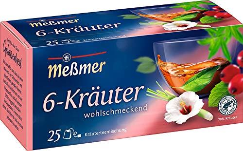 Meßmer, 6 Kräuter Mischung 25 Teebeutel Vegan Glutenfrei Laktosefrei, 1 stück