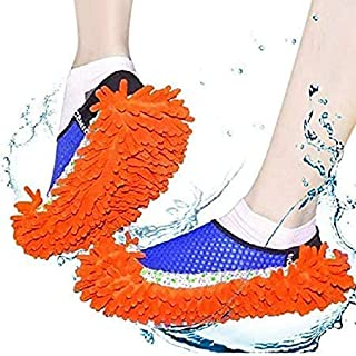 CHESHTA Washable Dust Mop Slippers Shoes Microfiber Cleaning House Mop Slippers Multi Functional Floor Cleaning Shoes Cove...