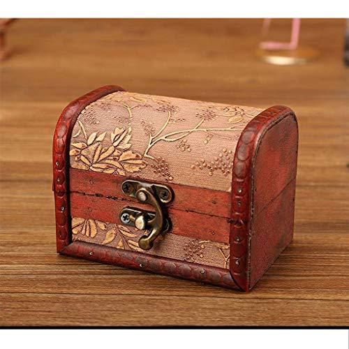 Retro Joyero, Madera Almacenamiento Caja del Tesoro para Joyeria Regalo Caja De Almacenamiento para Niño Niña Regalo del Día De Los Caídos-E-11x8x8cm(4x3x3inch)