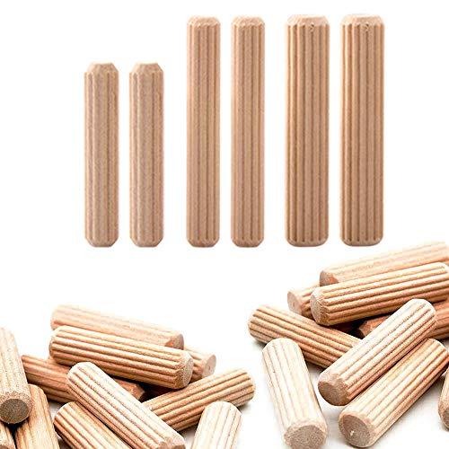 Gativs 300 Piezas Tacos de Madera Pasadores de Madera Tacos de Madera Redondos Espigas de Madera de Haya Tubillones Madera 6mm 8mm 10mm para Muebles Carpinteros Carpintería Bricolaje