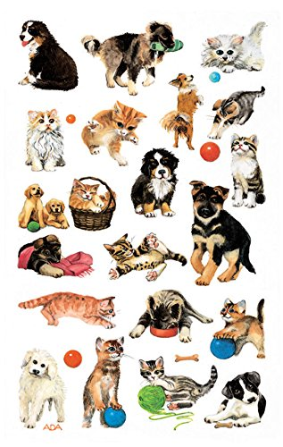 AVERY Zweckform 53487 Kinder Sticker Hunde Katzen 63 Aufkleber