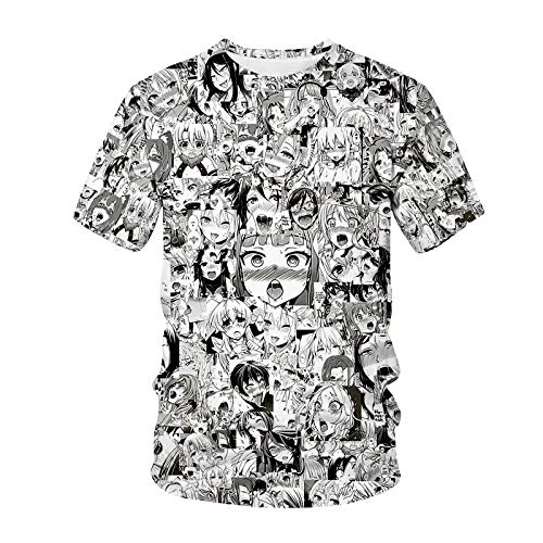 Camisetas Hombre Ahegao T-Shirt Anime Imprimir 3D Hombres Mujeres Streetwear Hentai Pattern O-Cuello Hip Hop T Shirt Harajuku Tops Casuales Sexy Girl Ropa-Ataa3313_Metro