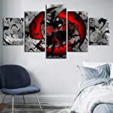 SFXYJ 5 Pieces Canvas Print - HD Naruto Animation Painting - Uchiha Itachi Poster - Wall Art Pictures for Living Room/Bedroom/Children's Room,A,20×30×2+20×40x2+20x50×1