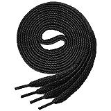 Lenzen 3 Pares Cordones Planos para Zapatos, Zapatillas de Deporte y Botas (100 cm, negro)