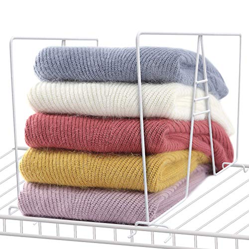 Urban Deco Shelf Dividers Wire Shelf Wood Closet Organizers and Storage 8 Packs White Coated Steel Shelve Dividers for Clothes Purse Towel Wardrobe Kitchen Pantry Organization
