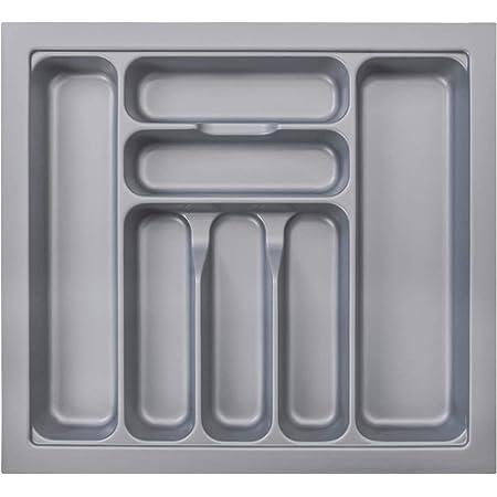 MUHOO Bac à Couverts, 7 Compartiments Plateau à Couverts Range-Couvert Modulable Organisateur de Couverts Pour Tiroirs de Cuisine, 517*474*60mm