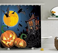 Halloween Decorations Shower Curtain Set, Gothic Scene with Halloween Haunted House Party Theme Decor Trick Or Treat for K...