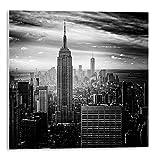 Cuadro con adhesivo de Nueva York en blanco y negro   Tamaño: 30x30 cm   Sticky rígido para apoyar o colgar sin hacer agujeros   Cuadros para decoración
