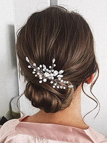 Vakkery - Horquillas para el pelo de novia con cristales plateados y...