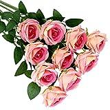 Olrla 10 rosas artificiales de terciopelo, rosas rosadas falsas, ramos de novia para bodas, cumpleaños, fiestas, arreglos del hogar, 10 unidades, color rosa