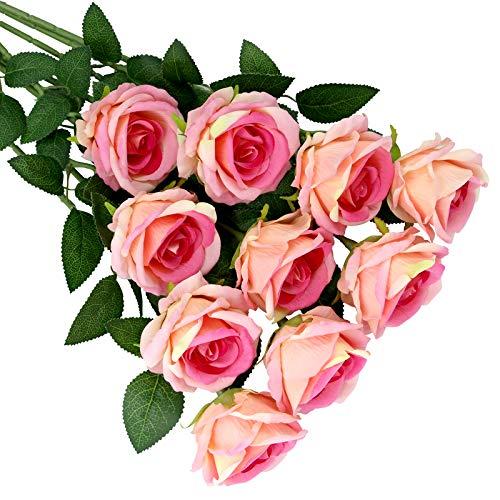 Olrla 10Pcs künstliche Samt Rose Blumen, gefälschte blühende rosa Rose, Brautsträuße für Hochzeit Geburtstagsfeier Arrangement Home Decor (Pink 10)