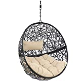 Sunnydaze Jackson Hanging Egg Chair Swing - Resin Wicker Porch Swing - Modern All-Weather Construction Design - Outdoor Lounging Chair - Large Basket Patio Swing with Removable Cream Cushions