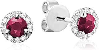 10K Gold Diamond and Blue Sapphire, Emerald, Ruby stone Earrings (0.07TDW H-I Color,I1 Clarity)