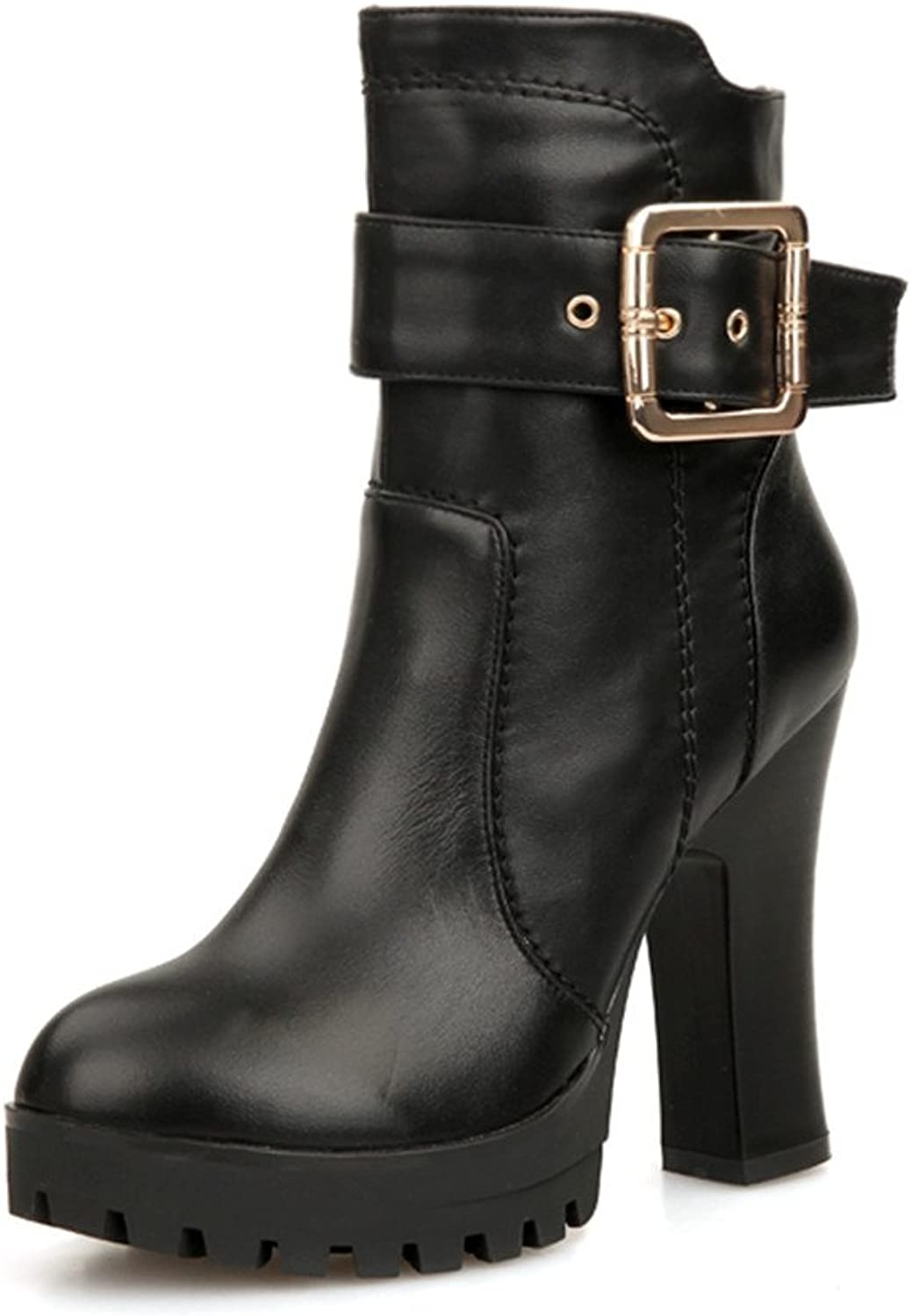 Nine Seven Women's Genuine Leather Round Toe Platform High Heel Black Ankle Handmade Boot with Buckle Accent