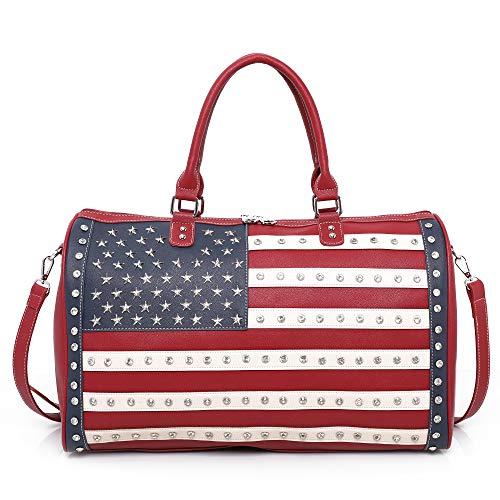 Handtaschen und Geldbörsen mit amerikanischer Flagge, patriotische Geldbörsen für Frauen, mit Nieten besetzt, versteckte Tragetasche, Z Seesack Navy American Flag Red (Rot) - US04-5110 RD