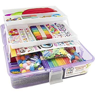 Olly Kids Arts and Crafts Supplies Set- 1000+ Pieces Giftable Craft Box for Kids: DIY Craft Supplies for Toddlers, School Project, and Homeschool by Olly Kids