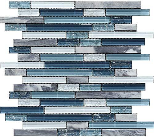 Generic Glass Stone Mosaic Tile for Kitchen Backsplashes/Bathroom Tile,Mesh Backing,Multi Width Random Strip Mosaic Glass Tile Non-Sanded Grout for Installation,G-18