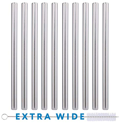 """10 Pack Boba Straws In Stainless Steel - Reusable Metal Straws Best For Drinking Bubble/Boba Tea, Smoothies, Shakes - Extra Wide 0.5'' And 8.5"""" Long - Comes With Cotton Storage Bag And Cleaning Rod"""