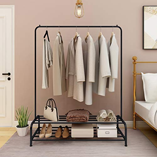 JURMERRY Metal Coat Rail Pipe Hanging Clothes Rail Heavy Duty Storage Shelf 2-Tier Metal with Home Office Indoor, Dark Black