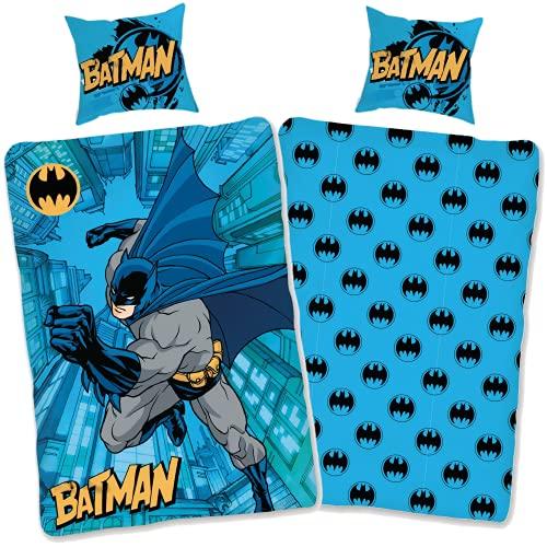 SkyBrands Ropa de cama de Batman, 135 x 200, 80 x 80 cm, funda de almohada [diseño reversible] Ropa de cama infantil de algodón, 135 x 200 cm, certificado Öko-Tex alemán