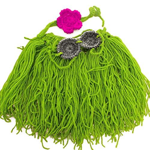 rongweiwang Bébé Crochet à Tricoter Lait Laine Coton Herbe Hawaï Hawaï Fils Grass Skirt Photo Tenues Costume vêtements pour Cadeau