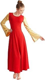 MYRISAM Women Metallic Gold Long Sleeve Praise Dance Dress Adult Celebration of Spirit Liturgical Worship Full Length Costume